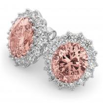 Oval Morganite and Diamond Earrings 14k White Gold (10.80ctw)