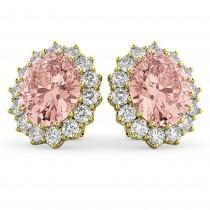Oval Morganite and Diamond Earrings 14k Yellow Gold (10.80ctw)