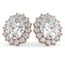 Oval Moissanite & Diamond Accented Earrings 14k Rose Gold (10.80ctw)