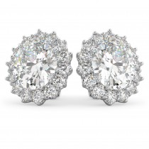 Oval Moissanite & Diamond Accented Earrings 14k White Gold (10.80ctw)