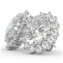 Oval Moissanite & Diamond Accented Earrings 14k White Gold (10.80ctw)