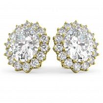 Oval Moissanite & Diamond Accented Earrings 14k Yellow Gold (10.80ctw)