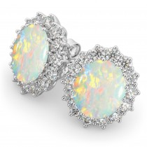 Oval Opal & Diamond Accented Earrings 14k White Gold (10.80ctw)