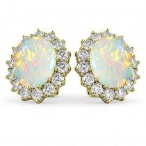 Oval Opal & Diamond Accented Earrings 14k Yellow Gold (10.80ctw)
