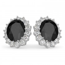 Oval Black Onyx & Diamond Accented Earrings 14k White Gold (10.80ctw)