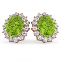 Oval Peridot & Diamond Accented Earrings 14k Rose Gold (10.80ctw)