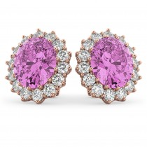 Oval Pink Sapphire & Diamond Accented Earrings 14k Rose Gold 10.80ctw