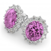 Oval Pink Sapphire & Diamond Accented Earrings 14k White Gold 10.80ctw