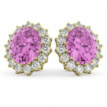 Oval Pink Sapphire & Diamond Accented Earrings 14k Yellow Gold 10.80ctw