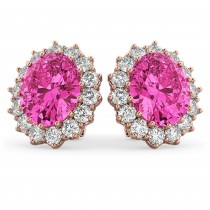 Oval Pink Tourmaline & Diamond Accented Earrings 14k Rose Gold 10.80ctw