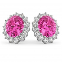 Oval Pink Tourmaline & Diamond Accented Earrings 14k White Gold 10.80ctw