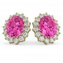 Oval Pink Tourmaline & Diamond Accented Earrings 14k Yellow Gold 10.80ctw