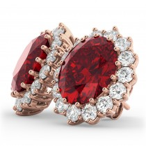 Oval Ruby and Diamond Earrings 14k Rose Gold (10.80ctw)