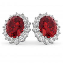 Oval Ruby and Diamond Earrings 14k White Gold (10.80ctw)
