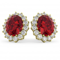 Oval Ruby and Diamond Earrings 14k Yellow Gold (10.80ctw)