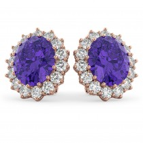Oval Tanzanite & Diamond Accented Earrings 14k Rose Gold (10.80ctw)