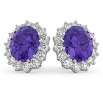 Oval Tanzanite & Diamond Accented Earrings 14k White Gold (10.80ctw)