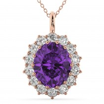 Oval Amethyst & Diamond Halo Pendant Necklace 14k Rose Gold (6.40ct)