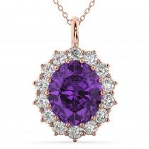 Oval Amethyst & Diamond Halo Pendant Necklace 14k Rose Gold (6.40ct)