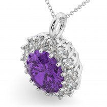 Oval Amethyst & Diamond Halo Pendant Necklace 14k White Gold (6.40ct)