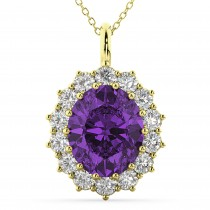Oval Amethyst & Diamond Halo Pendant Necklace 14k Yellow Gold (6.40ct)