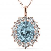 Oval Aquamarine & Diamond Halo Pendant Necklace 14k Rose Gold (6.40ct)