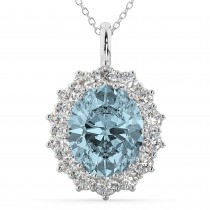 Oval Aquamarine & Diamond Halo Pendant Necklace 14k White Gold (6.40ct)
