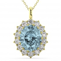 Oval Aquamarine & Diamond Halo Pendant Necklace 14k Yellow Gold (6.40ct)