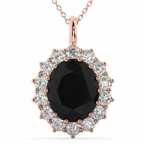 Oval Black Diamond & Diamond Halo Pendant Necklace 14k Rose Gold (6.40ct)