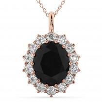 Oval Black Diamond & Diamond Halo Pendant Necklace 14k Rose Gold (6.40ct)