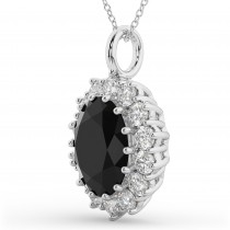 Oval Black Diamond & Diamond Halo Pendant Necklace 14k White Gold (6.40ct)