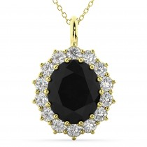 Oval Black Diamond & Diamond Halo Pendant Necklace 14k Yellow Gold (6.40ct)