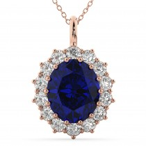 Oval Blue Sapphire & Diamond Halo Pendant Necklace 14k Rose Gold (6.40ct)