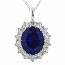 Oval Blue Sapphire & Diamond Halo Pendant Necklace 14k White Gold (6.40ct)