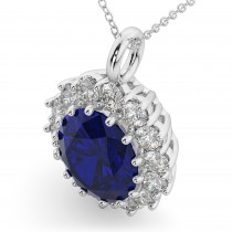 Oval Blue Sapphire & Diamond Halo Pendant Necklace 14k White Gold (6.40ct)