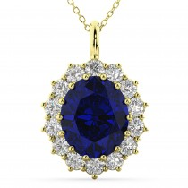 Oval Blue Sapphire & Diamond Halo Pendant Necklace 14k Yellow Gold (6.40ct)