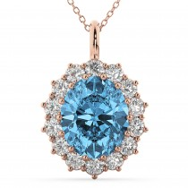 Oval Blue Topaz & Diamond Halo Pendant Necklace 14k Rose Gold (6.40ct)
