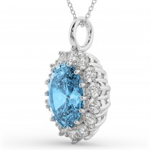 Oval Blue Topaz & Diamond Halo Pendant Necklace 14k White Gold (6.40ct)