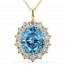 Oval Blue Topaz & Diamond Halo Pendant Necklace 14k Yellow Gold (6.40ct)