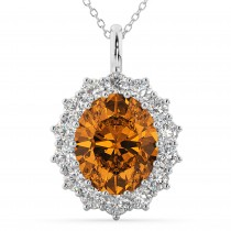 Oval Citrine & Diamond Halo Pendant Necklace 14k White Gold (6.40ct)
