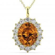 Oval Citrine & Diamond Halo Pendant Necklace 14k Yellow Gold (6.40ct)