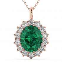 Oval Emerald & Diamond Halo Pendant Necklace 14k Rose Gold (6.40ct)