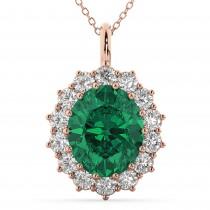 Oval Emerald & Diamond Halo Pendant Necklace 14k Rose Gold (6.40ct)