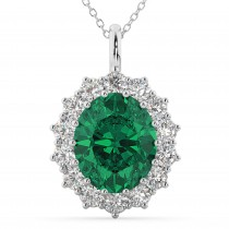 Oval Emerald & Diamond Halo Pendant Necklace 14k White Gold (6.40ct)