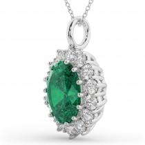 Oval Emerald & Diamond Halo Pendant Necklace 14k White Gold (6.40ct)