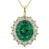 Oval Emerald & Diamond Halo Pendant Necklace 14k Yellow Gold (6.40ct)