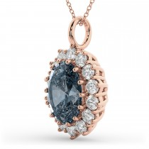 Oval Gray Spinel & Diamond Halo Pendant Necklace 14k Rose Gold (6.40ct)