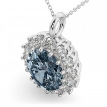 Oval Gray Spinel & Diamond Halo Pendant Necklace 14k White Gold (6.40ct)