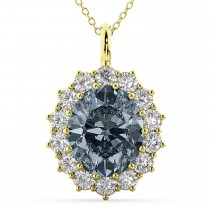Oval Gray Spinel & Diamond Halo Pendant Necklace 14k Yellow Gold (6.40ct)