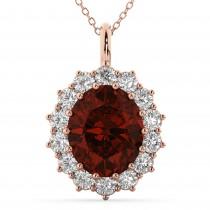 Oval Garnet & Diamond Halo Pendant Necklace 14k Rose Gold (6.40ct)